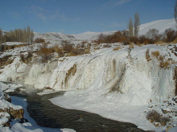 Muradiye waterfalls in winter time