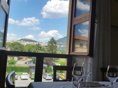 The view from the restaurant window