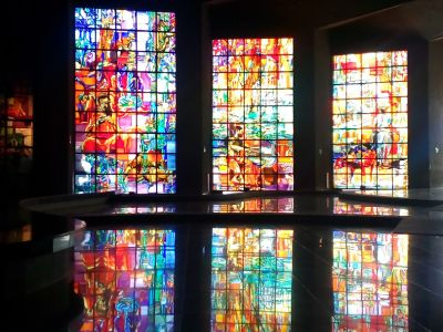 saving bank stained glasses