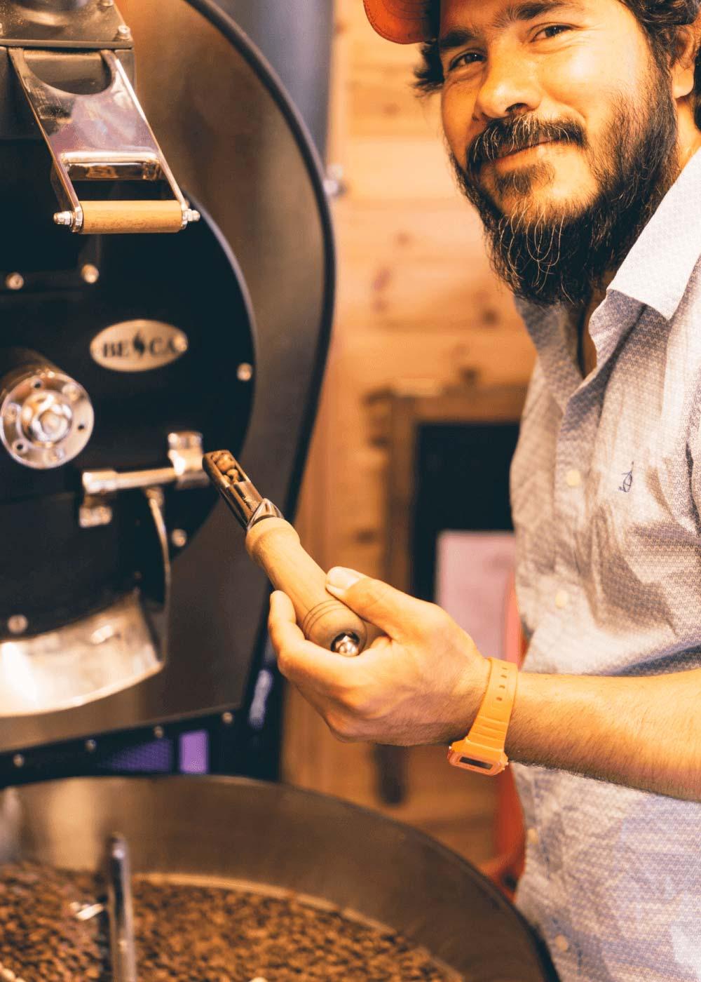 Juan roasting coffee