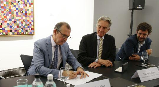 Markus Hongler CEO la Mobiliare, Marco Solari Presidente del Festival del film Locarno and Mario Timbal Direttore Operativo Festival del film Locarno
