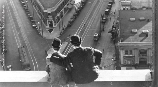 """A scene of the film """"Liberty"""" with Laurel & Hardy"""