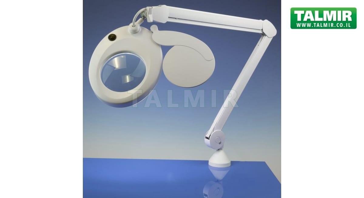 מנורת עבודה שולחנית עם זכוכית מגדלת Slimline Led הגדלה X3 טלמיר אלקטרוניקה