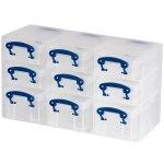 סט ארגונית עם 9 קופסאות אחסון שקופות 285X165X105MM