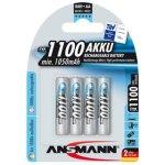 רביעיית סוללות נטענות - ANSMANN - AAA - 1.2V 1100MAH - NIMH