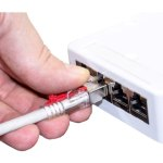 כבל רשת יצוק מסוכך עם נעילת CAT6A 10M - DATALOK - בידוד אפור