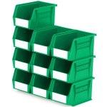 סט 10 תאי אחסון מודולריים ירוקים - 210MM X 140MM X 130MM