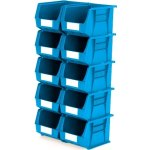 סט 10 תאי אחסון מודולריים כחולים - 280MM X 210MM X 180MM