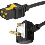 כבל חשמל יצוק עם נעילת 2M , IEC C19 ~ UK PLUG - V-LOCK