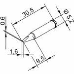 ראש לידית מלחם - ERSA 0102CDLF16 - CHISEL 1.6MM