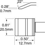 ראש לידית מלחם - METCAL PTC-7BL1321R - BLADE 20.6MM