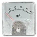 מד זרם (אמפרמטר) אנלוגי - 60MM X 60MM , 0-10A