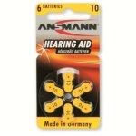 סט 6 סוללות למכשירי שמיעה - ANSMANN AZA10