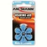 סט 6 סוללות למכשירי שמיעה - ANSMANN AZA675