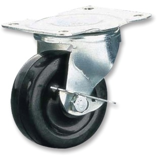 גלגל פלסטיק שחור מסתובב עם מעצור - 64MM CLARKE