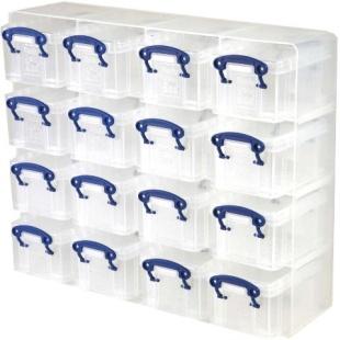 סט ארגונית עם 16 קופסאות אחסון שקופות 375X310X125MM REALLY USEFUL PRODUCTS