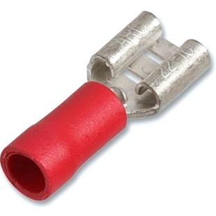 נעל כבל נקבה 6.3MM - אדום - 100 יחידות MULTICOMP