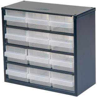 ארונית פלדה לאחסון רכיבים - 12 מגירות - 306X282X150MM RAACO
