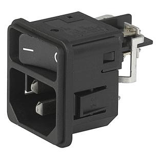 תקע חשמל IEC עם נעילת 12A , 1POL SW , SNAP - V-LOCK SCHURTER