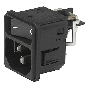 תקע חשמל IEC עם נעילת 12A , 2POL SW , SNAP - V-LOCK SCHURTER