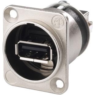 מתאם לפנל - (NAUSB-W - USB 2.0 A (F) ~ USB 2.0 B (F NEUTRIK