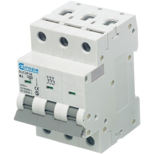 מנתק מעגלים - סדרה 10A , 230VAC , 3 POLE , C CURVE - EUCXP EUROPA COMPONENTS