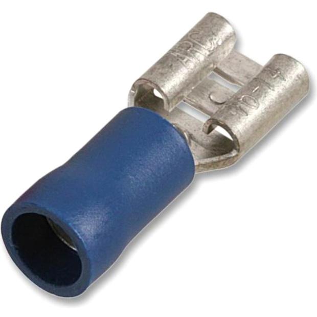 נעל כבל נקבה 6.3MM - כחול - 100 יחידות MULTICOMP