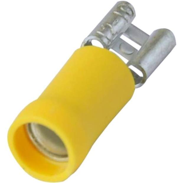 נעל כבל נקבה 6.3MM - צהוב - 100 יחידות MULTICOMP