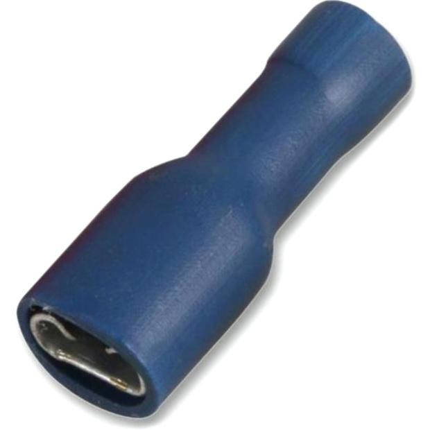 נעל כבל נקבה בידוד מלא 4.8MM - כחול - 100 יחידות MULTICOMP