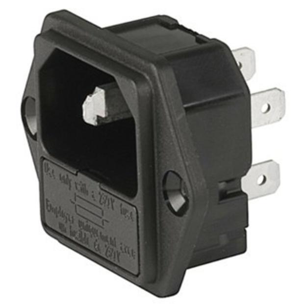 תקע חשמל IEC 10A לפנל עם בית פיוז MULTICOMP
