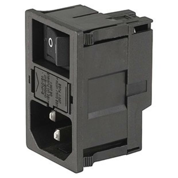 תקע חשמל IEC 10A לפנל עם בית פיוז ומפסק MULTICOMP