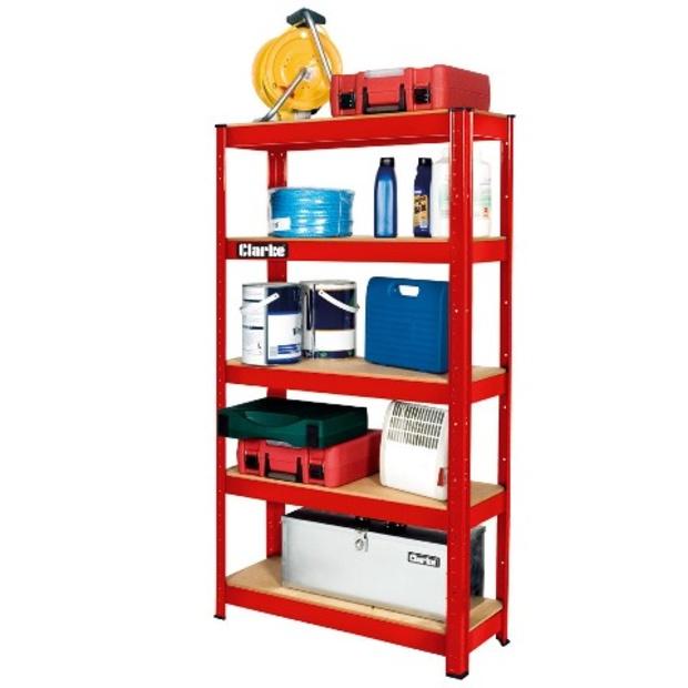 ארון מדפים מפלדה 800X300X1500MM - צבע אדום CLARKE