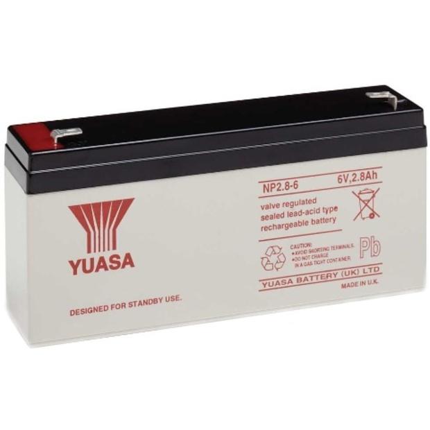מצבר עופרת נטען - YUASA NP2.8-6 - 6V 2.8AH YUASA