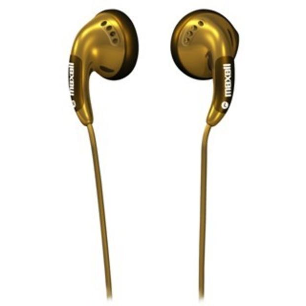 אוזניות כפתור מוזהבות - MAXELL BUDZ MAXELL