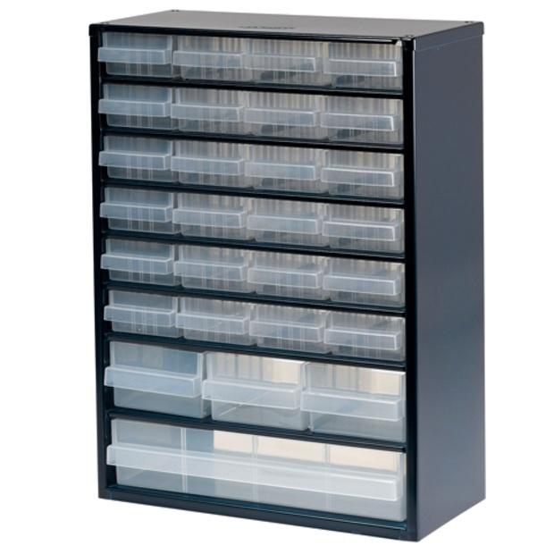 ארונית פלדה לאחסון רכיבים - 28 מגירות - 417X306X150MM RAACO