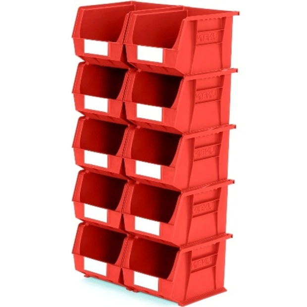 סט 10 תאי אחסון מודולריים אדומים - 280MM X 210MM X 180MM APEX LINVAR
