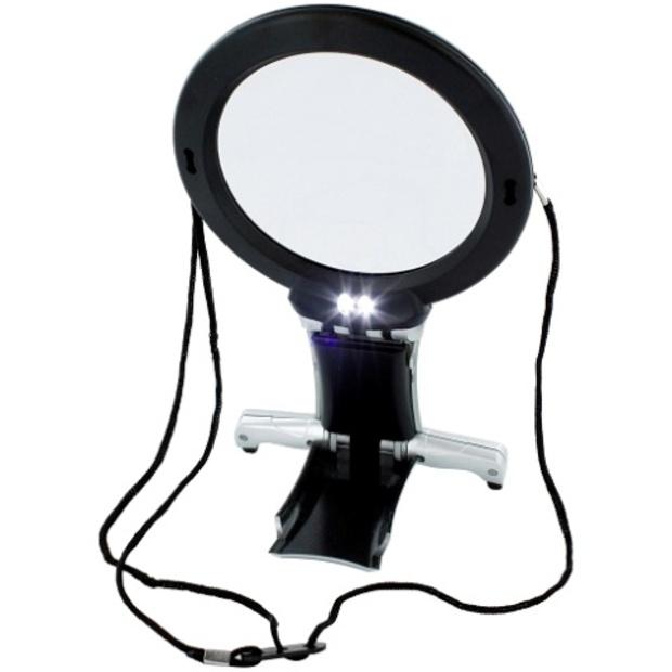 זכוכית מגדלת שולחנית עם תאורת LED - הגדלה X2 / X6 LIGHTCRAFT