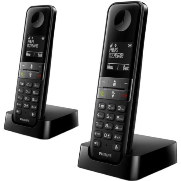 טלפון אלחוטי מעוצב + שלוחה נוספת - PHILIPS D4502 PHILIPS