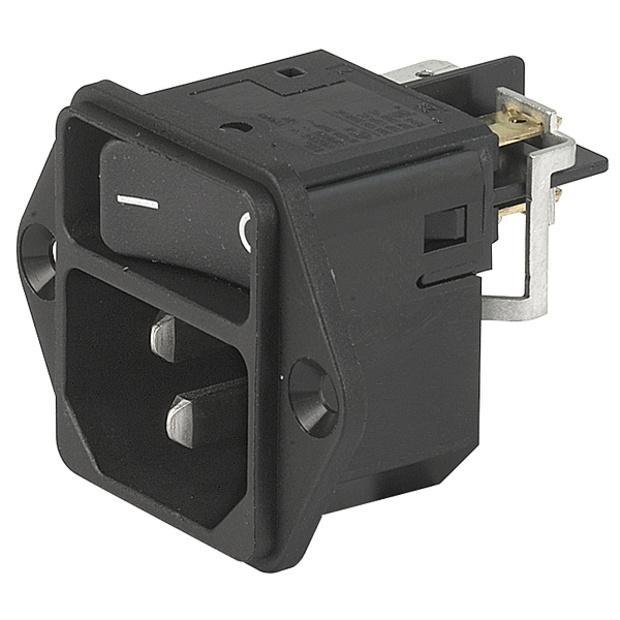 תקע חשמל IEC עם נעילת 12A , 1POL SW , SCREW - V-LOCK SCHURTER