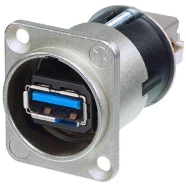 מתאם לפנל - (NAUSB3 - USB 3.0 A (F) ~ USB 3.0 B (F NEUTRIK