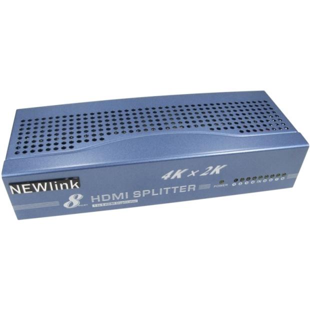מפצל אקטיבי 8PORT , 3D & 4K - HDMI NEWLINK