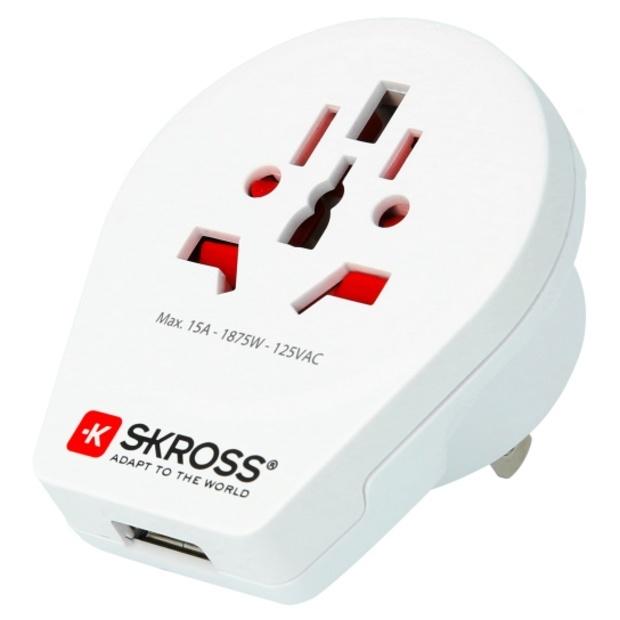 מתאם חשמל בינלאומי - SKROSS WORLD TO USA & USB SKROSS
