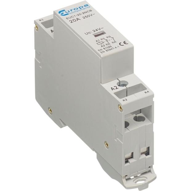 מגען (קונטקטור) לפס דין - מודול בודד - 2N/C 25A 230VAC EUROPA COMPONENTS