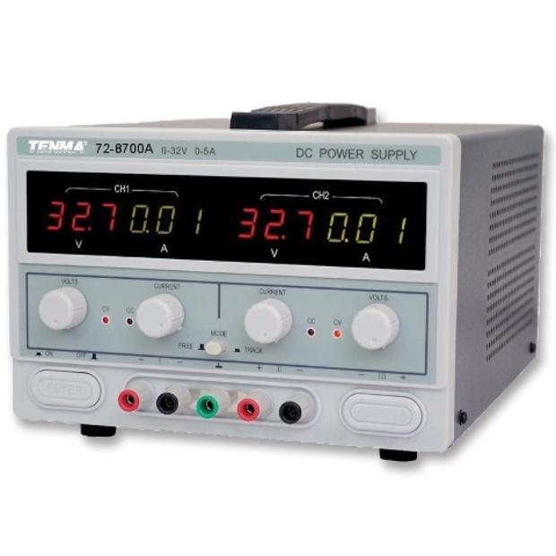 ספק כוח מעבדתי - ADJ - שתי יציאות - (0-32V / 0-5A) TENMA