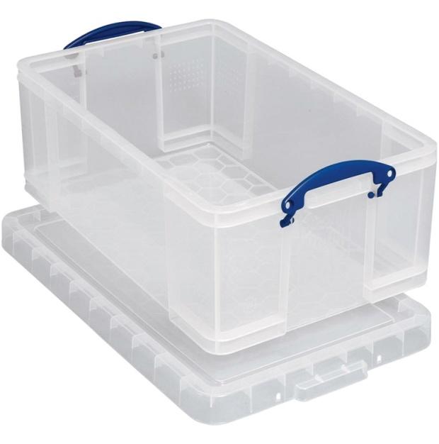 קופסת אחסון שקופה עם מכסה ננעל - 710X440X310MM 84 LITER REALLY USEFUL PRODUCTS