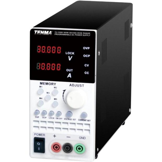 ספק כוח מעבדתי - PROG & WIDE RANGE - יציאה אחת - (0-30V / 0-30A) TENMA
