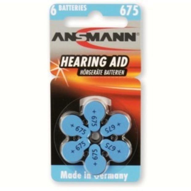 סט 6 סוללות למכשירי שמיעה - ANSMANN AZA675 ANSMANN
