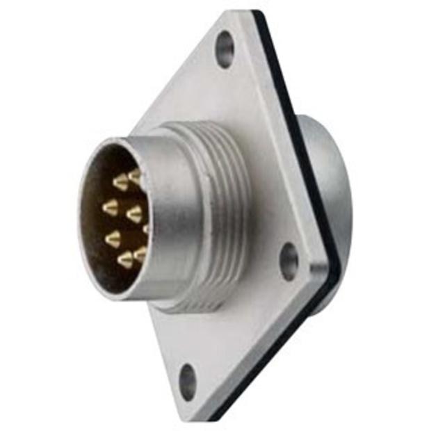 מחבר תעשייתי DIN 0332 - זכר להלחמה לפנל - 7 מגעים LUMBERG