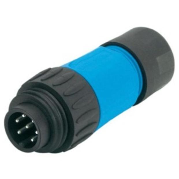 מחבר תעשייתי C016 - זכר ללחיצה לכבל - 6 מגעים + הארקה AMPHENOL