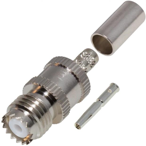 מחבר MINI UHF - נקבה ללחיצה לכבל RG58 AMPHENOL